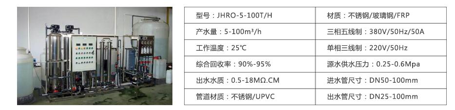 超纯水设备参数表
